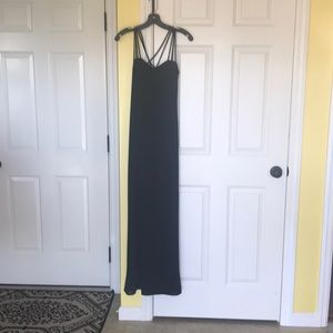 Long straight and strappy dinner evening dress